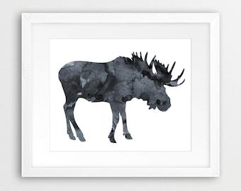 Moose Watercolor Print, Moose Watercolor Grey, Black And White, Moose Print, Woodlands Animal, Modern Wall Art, Nursery Decor, Printable Art
