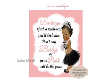 DIGITAL FILE Grab a Necklace Don't Say Baby,  Baby and CO, Baby Shower, Welcome Sign, Baby Shower Games