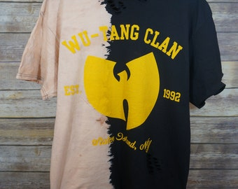 Vintage Inspired Custom Bleached & Distressed Wu-Tang Clan T-shirt XL