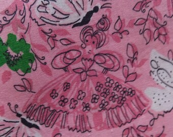 Vintage Pink Southern Belle Butterfly Garden Cotton Fabric