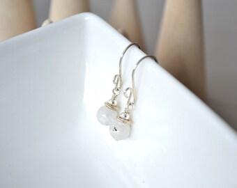Moonstone Earrings, Luminescent Gemstone Earrings, White Gemstone Earrings, Sterling Silver Earrings
