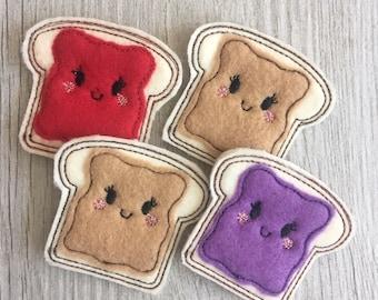 Peanut Butter and Jelly Felties Set of 4 - PB and J Feltie - Hair clip Feltie - Planner Clip Feltie Feltie - Food Feltie