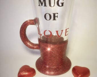 Hand painted 'Mug Of Love' red Glitter Cup. With diamantes, Marshmellows and Gift Wrapped. Perfect for Valentines Day