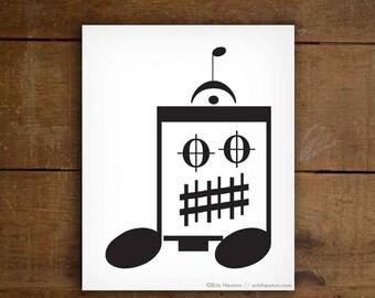 Robot art / Music note art / EIGHTH NOTE ROBOT - 5x7, 8x10, 11x14 art print / Black and white art / Music gifts for men / Music room decor