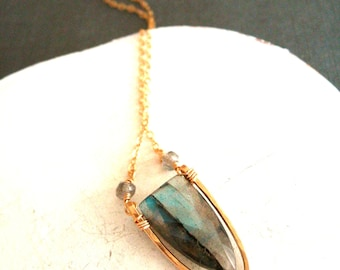 Flash Labradorite Necklace grey blue and gold kite shield shape Vitrine Designs Surf Necklace shield