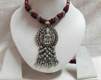 Handmade Pendant. 92.5 Sterling Silver Hindu Goddess of Prosperity and Happyness Maa Lakshmi Pendant. Hindu Shree Vidhya Goddess Necklace