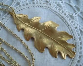 SALE Matte Gold Oak Leaf Pendant Necklace Nature Inspired Autumn