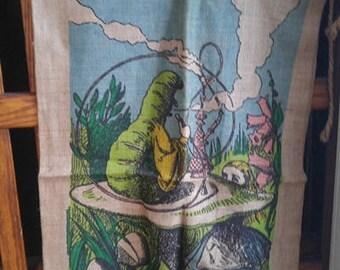 Rare Vintage Alice in Wonderland & Hookah Smoking Caterpillar Burlap Sack Bag