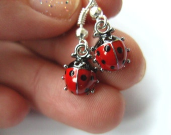 Tiny, ladybird, ladybug, earrings, cute, red and black, by NewellsJewels on etsy
