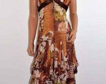 Vintage Designer DIANE FREIS Bead Silk Layered Asymmetrical Halter Dress Size 8