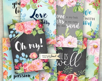 Quote Cards 02 - digital collage sheet - set of 8 - Printable Download - Watercolor Flower