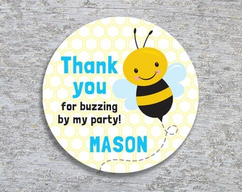 Personalized Bee Party Favor Tags or Stickers – 2, 2.5 or 3 inch Circle – DIY Printable – Blue (Digital File)
