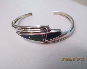 Sterling silver cuff bracelet vintage trademarked lapis malachite coral inlaid jewelry