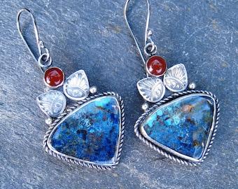 Azurite earrings,  Sterling Silver Stamped Earrings, Carnelian earrings, blue gemstone earrings, silver dangle earrings, statement earrings