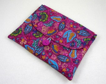 Tablet case, multicolour cotton case for reader, handmade travel case, fabric iPad cover, gift for her, iPad sleeve case