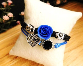 Dark bracelet royal blue Charm bracelet Best friend gift Bff Casual jewelry Silver Flower bracelet Deep blue jewelry Black Birthday gift