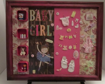 Handmade Framed Baby Collage Wall Art on Canvass