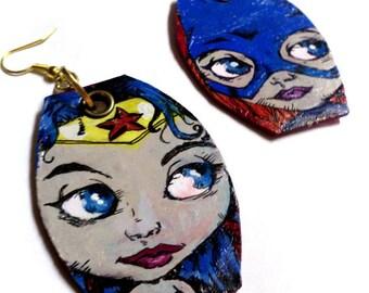 Super Hero Cuties - Wonder Woman and Batgirl blythe doll comic.book painted earrings