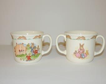 Lot of 2 Copyright 1936 Bunnykins Royal Daulton English Fine Bone China Mug / Creamer