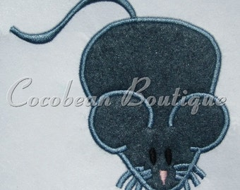 Grey mouse embroidery applique