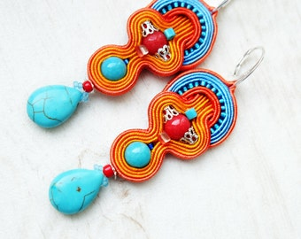 Turquoise Orange Soutache Earrings-Turquoise Bohemian Earrings-Bohemian Jewelry-Long Earrings-Ethnic Long Earrings-Gemstone Earrings