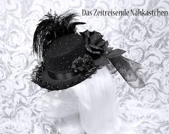 Victorianischer Hut, schwarz, mit Schleier, Straußenfeder und Glitzersteinen