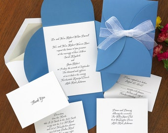 Debonair Wedding Invitation Set - Wrap,ribbon,blue,chocolate, layered, die cut, sophisticated- AV912