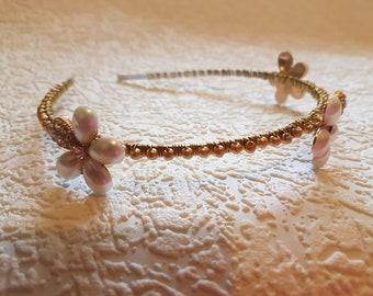 Handmade gold bead and ivory Tiara