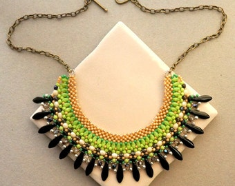 Elysium Necklace / SuperDuo and 2Hole Dagger Peyote and RAW Beaded Bib Necklace Tutorial / Seed Bead Necklace Pattern