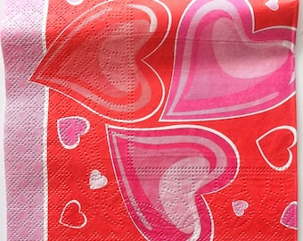 9 napkins - hearts fancy color pink red and white art 3417