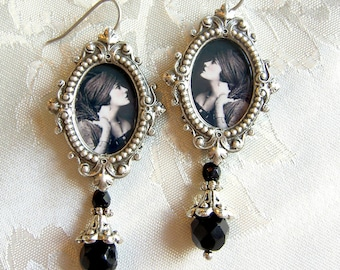 Gloria Swanson Earrings - Silent Vamp Earrings - Art Deco Earrings  - Gothic earrings - Ziegfeld Earrings - black and white - Gothic earring