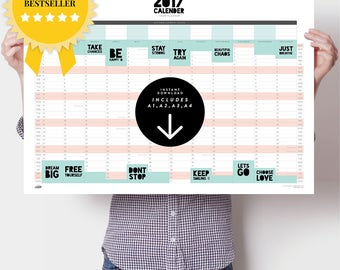 2018 Large Wall Planner Pack — Powerful Two Word Phrases — Printable — UK Dates