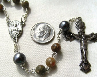 Rosary of Autumn Jasper and Swarovski Glass Pearls with SP Pewter Crucifix and Medal