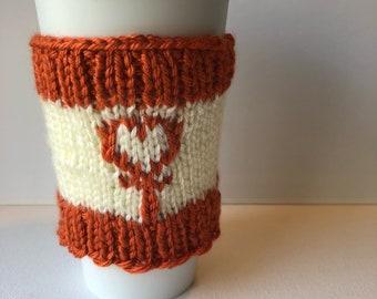 Sailor Venus knit travel mug sleeve - reusable coffee cup cozy
