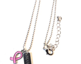Breast Cancer Awareness Necklace, Fearless Necklace, Fearless Gift, Cancer Survivor Necklace, Fearless Jewelry, Inspirational Necklace