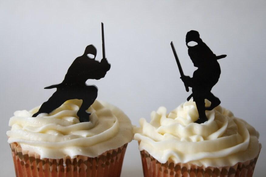 12 Ninja Cupcake Toppers Acrylic