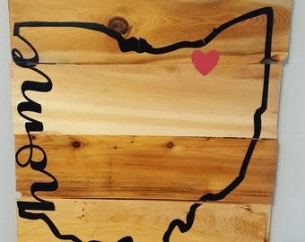 Custom 15x18 Wood Plank State & City Wall Sign