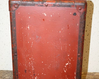 Vintage Metal Box with Leather Handle