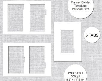 a5 planner divider template 4 tabs psd png instant