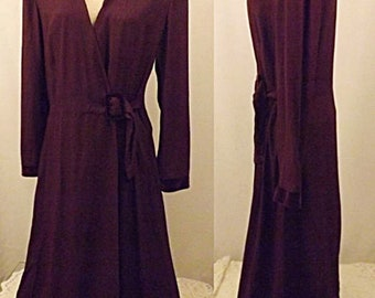 80's Long Purple Wrap Evening Dress Size 16 by Danny & Nicole NY