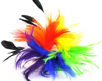 Rainbow  / Pride Themed Bendable Feather Hair-clip or Brooch - Red, Orange, yellow, Green, Blue, and Purple