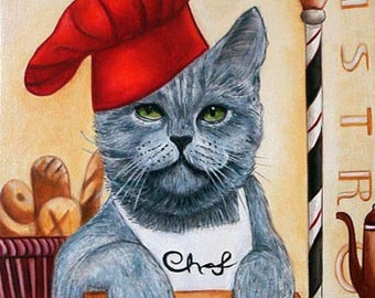 Custom Cat Portraits Art Prints and Cats in Clothes Paintings  from Original Painting Chef Roberto by k Madison Moore