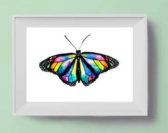 Watercolour Butterfly Art Print
