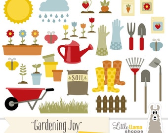 Gardening Clipart, Garden Clip Art, Spring Clipart, Yardwork Clip Art, Landscaping, Horticulture, Wheelbarrow, Commercial Use