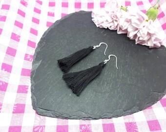 Tassel earrings sterling silver/black tassel earrings/cotton earrings/boho earrings/festival earrings/retro earrings/statement earrings.