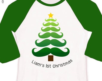 Babys first Christmas shirt or bodysuit for moustache design for baby boy for all the Christmas gatherings RAGLAN sleeves