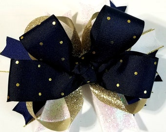 Navy Blue and Gold Hair Bow