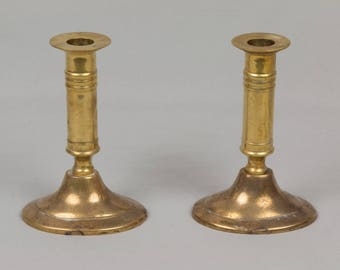 Two Brass Candle Sticks, Oval base foot Brass candle holders, Lathe turned candle sticks Yellow brass 5 1/2 inches tall