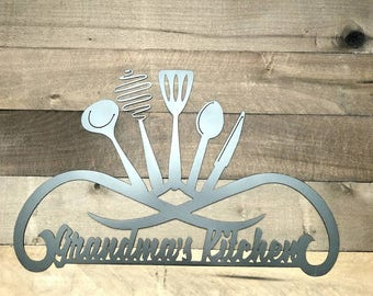 Superb Personalized Kitchen Sign Metal Wall Art Kitchen Decor Grandmau0027s Kitchen  Wall Art Kitchen Tools Sign Custom