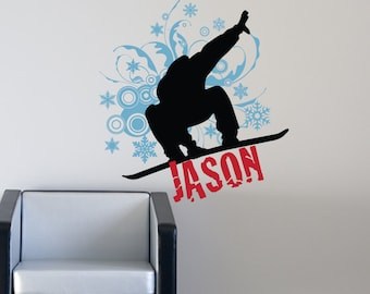 Snowboarder Vinyl Wall Decal, Snowboarding Decal, Snowboard Wall Decal for Teens, Teenager or Kids, Childrens Rooms 118